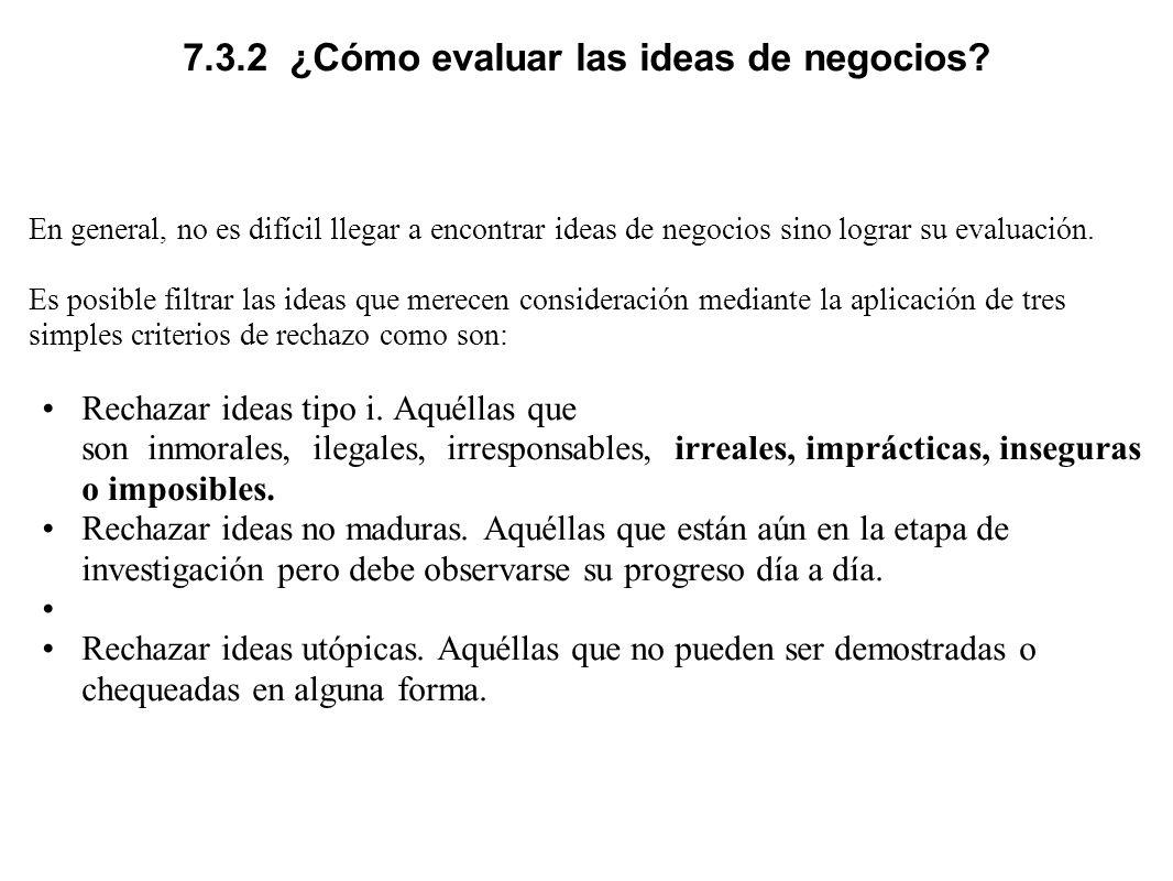7.3.2 ¿Cómo evaluar las ideas de negocios