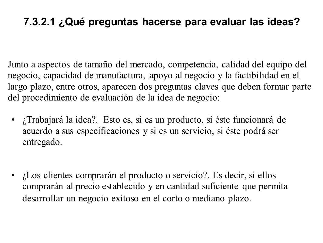 7.3.2.1 ¿Qué preguntas hacerse para evaluar las ideas