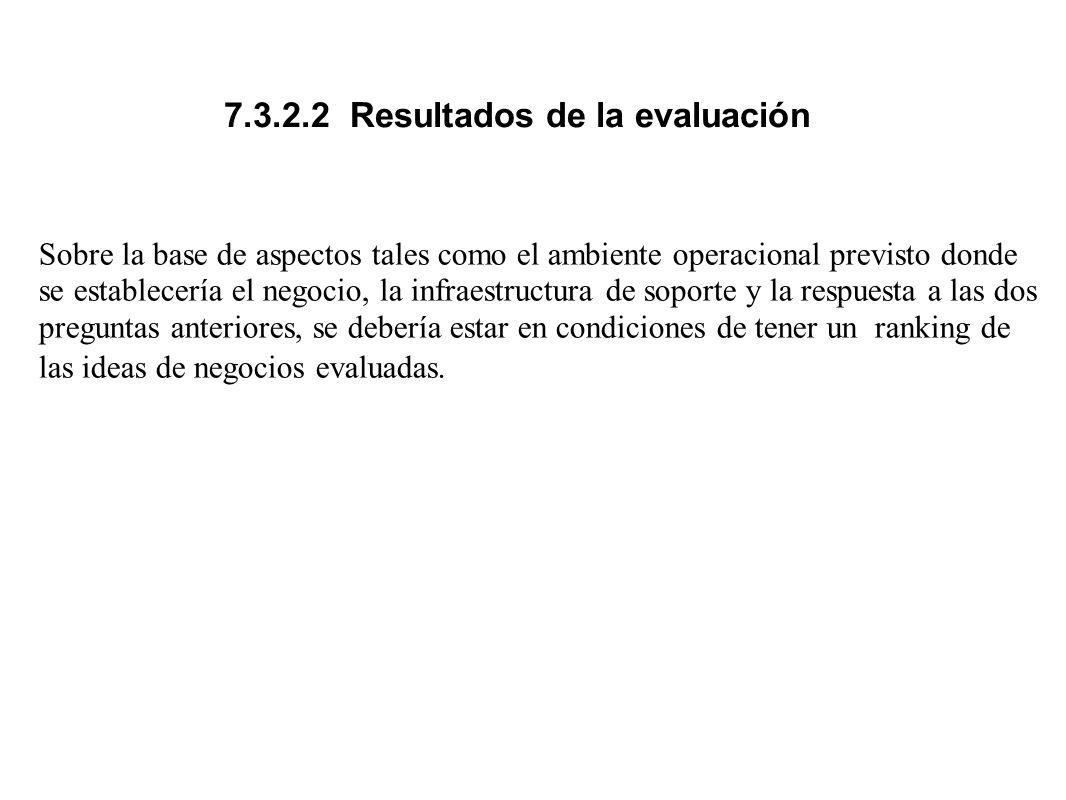 7.3.2.2 Resultados de la evaluación
