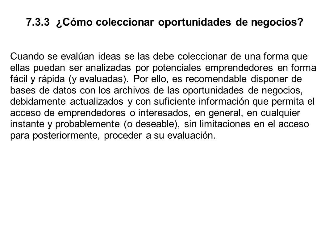 7.3.3 ¿Cómo coleccionar oportunidades de negocios