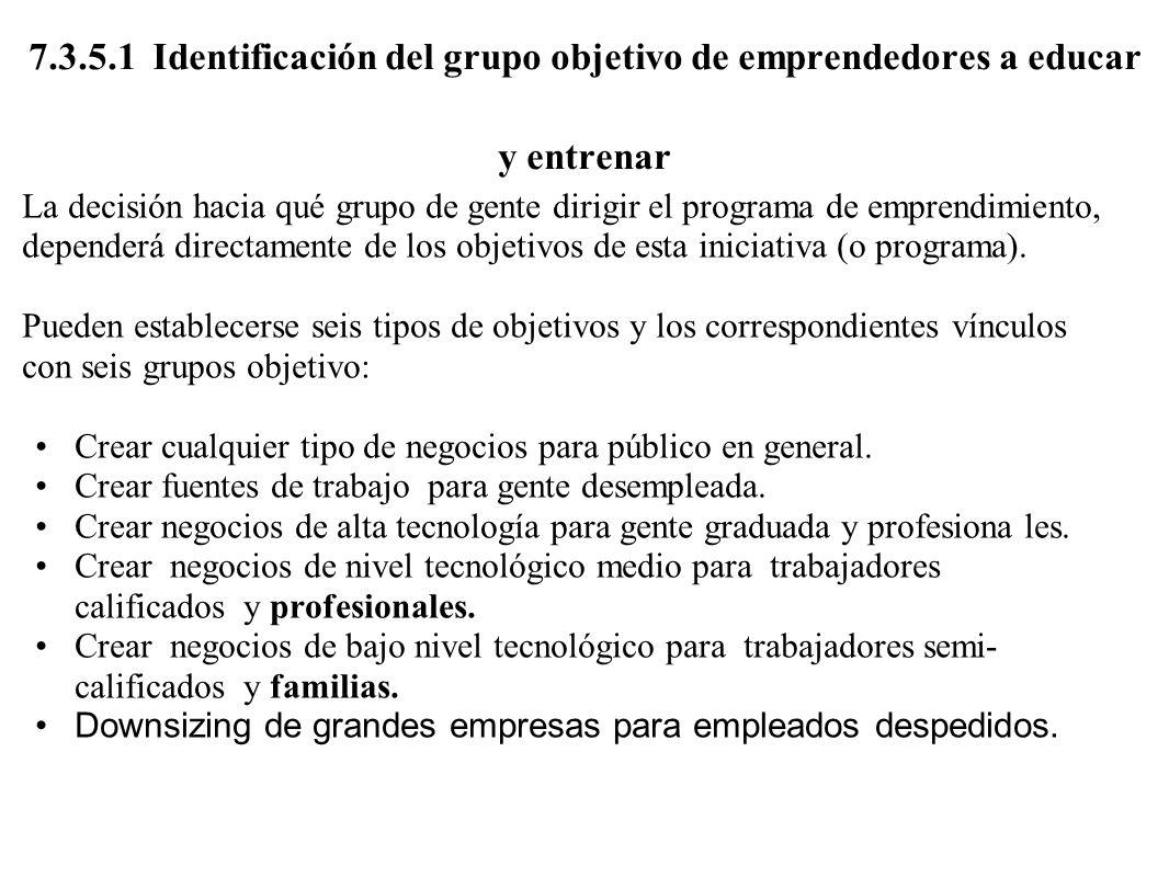 7.3.5.1 Identificación del grupo objetivo de emprendedores a educar y entrenar