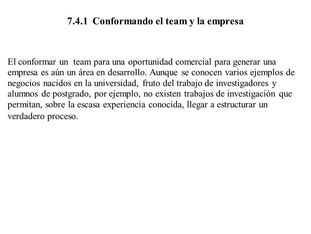 7.4.1 Conformando el team y la empresa
