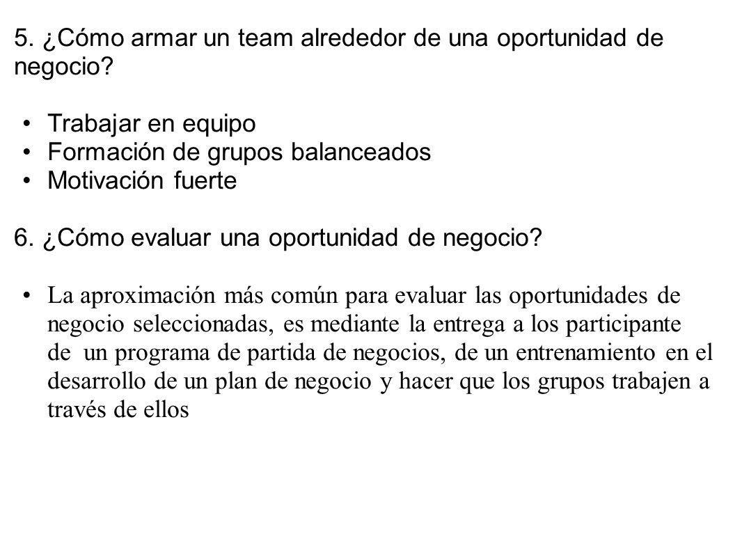 5. ¿Cómo armar un team alrededor de una oportunidad de negocio