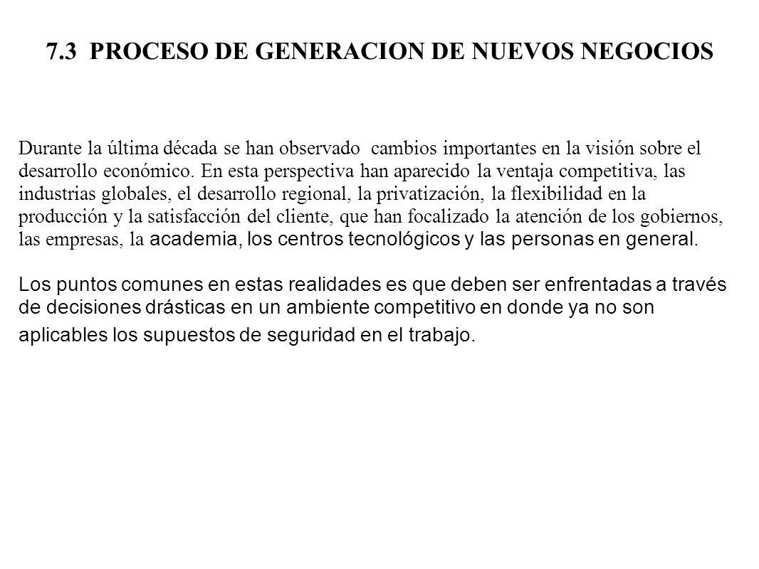 7.3 PROCESO DE GENERACION DE NUEVOS NEGOCIOS