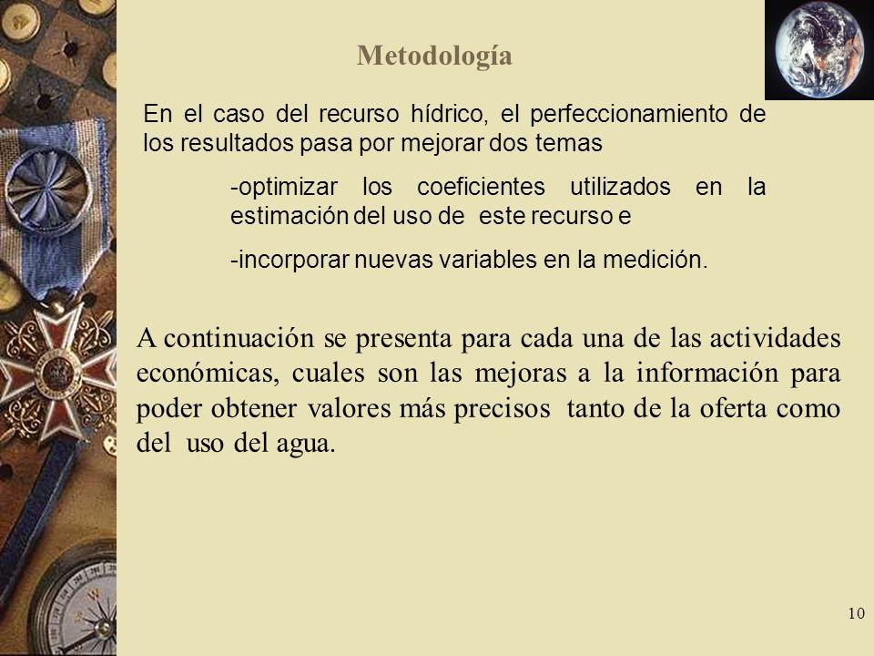 Metodología En el caso del recurso hídrico, el perfeccionamiento de los resultados pasa por mejorar dos temas.
