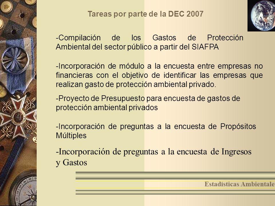 Tareas por parte de la DEC 2007