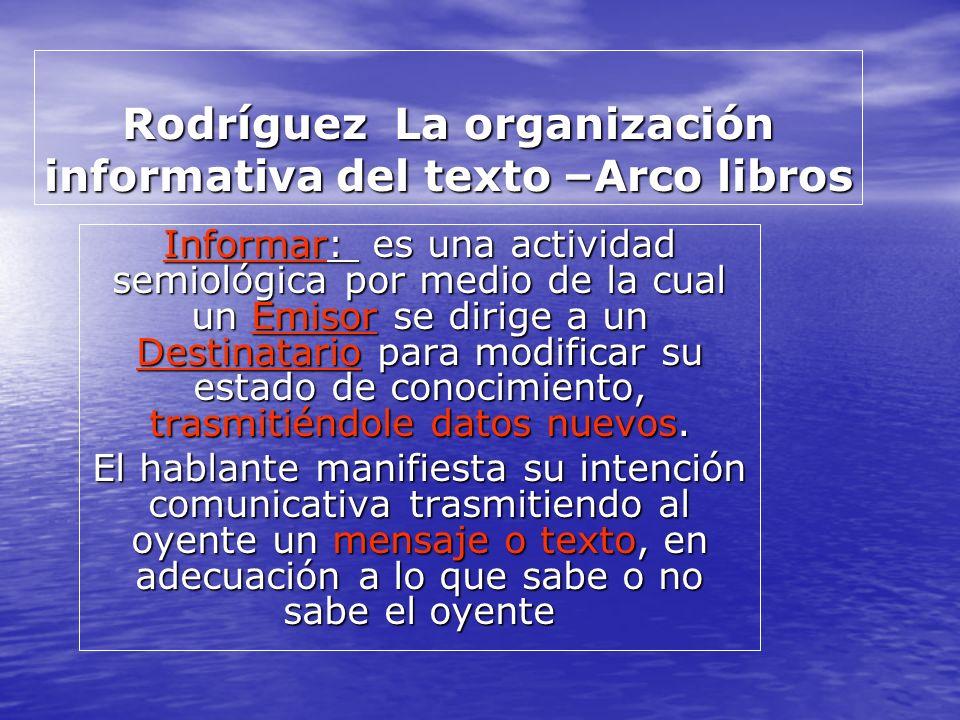 Rodríguez La organización informativa del texto –Arco libros