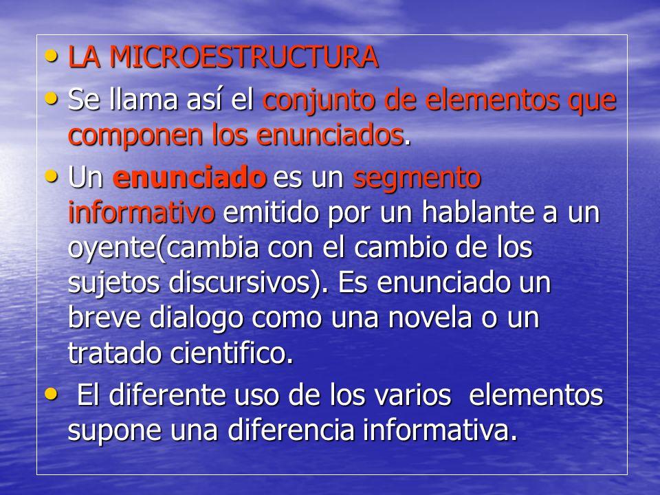 LA MICROESTRUCTURA Se llama así el conjunto de elementos que componen los enunciados.
