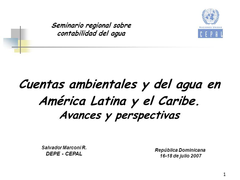 Cuentas ambientales y del agua en América Latina y el Caribe.