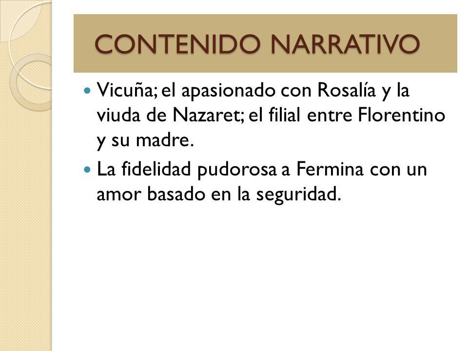 CONTENIDO NARRATIVO Vicuña; el apasionado con Rosalía y la viuda de Nazaret; el filial entre Florentino y su madre.