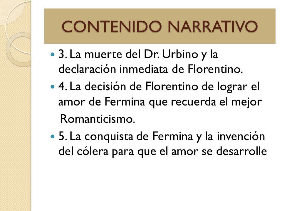 CONTENIDO NARRATIVO 3. La muerte del Dr. Urbino y la declaración inmediata de Florentino.