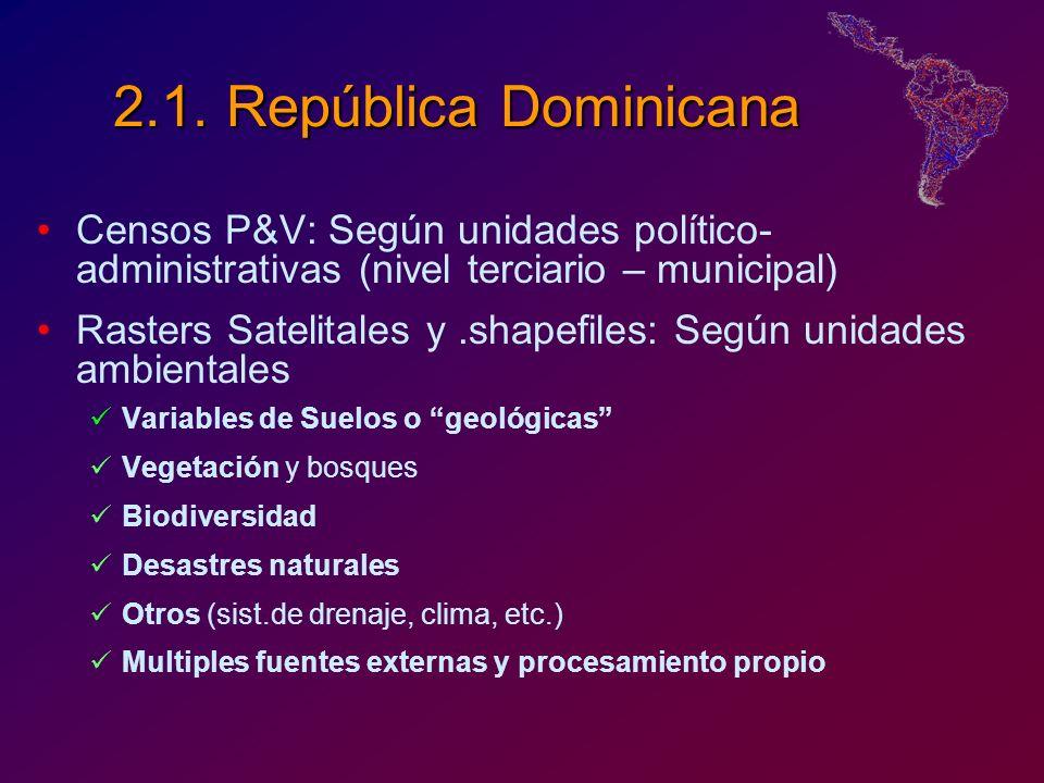 2.1. República Dominicana Censos P&V: Según unidades político-administrativas (nivel terciario – municipal)