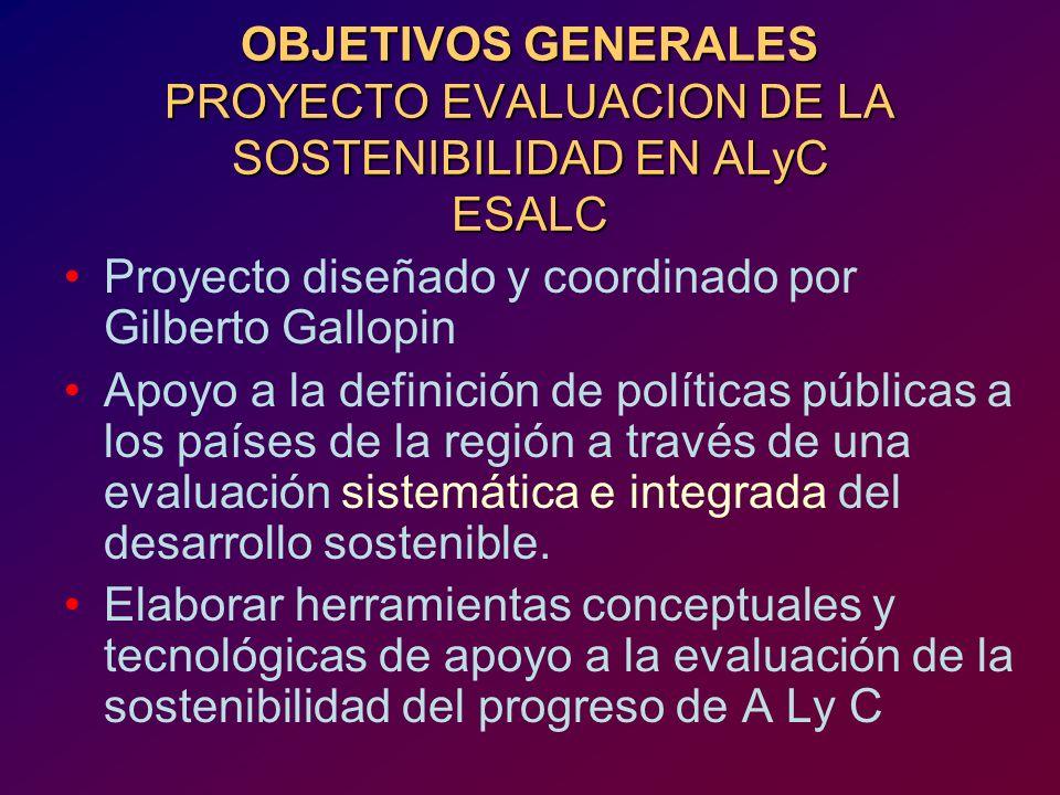OBJETIVOS GENERALES PROYECTO EVALUACION DE LA SOSTENIBILIDAD EN ALyC ESALC