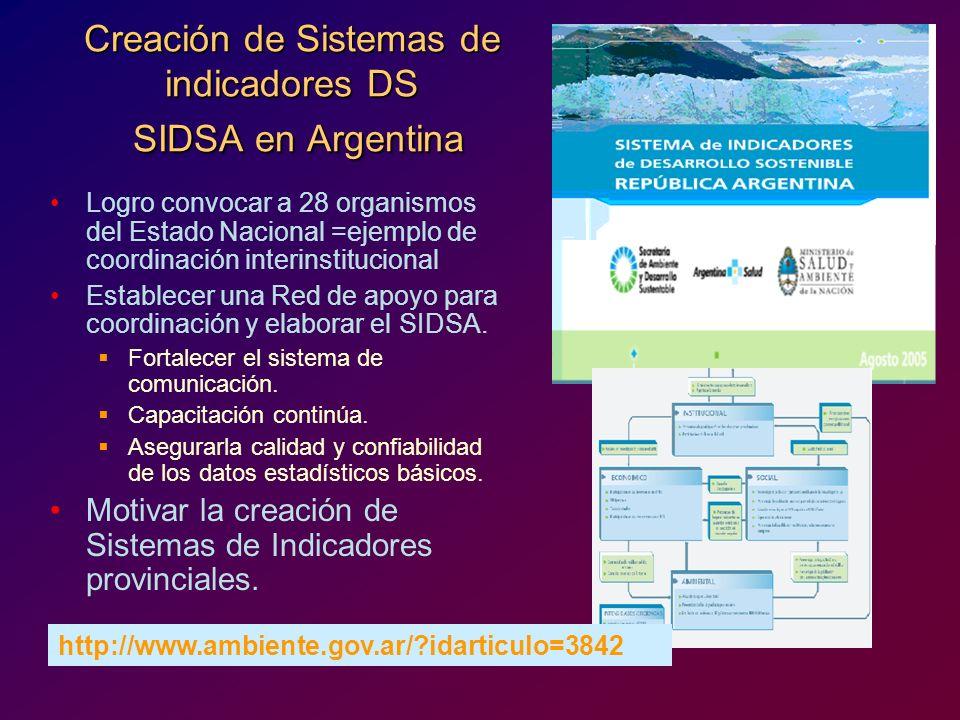 Creación de Sistemas de indicadores DS SIDSA en Argentina