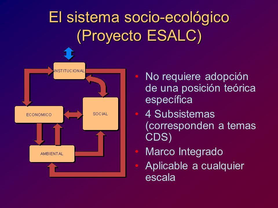 El sistema socio-ecológico (Proyecto ESALC)
