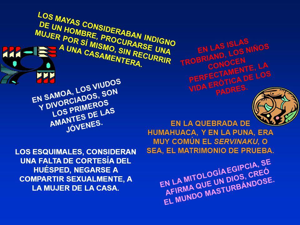 LOS MAYAS CONSIDERABAN INDIGNO DE UN HOMBRE, PROCURARSE UNA MUJER POR SÍ MISMO, SIN RECURRIR A UNA CASAMENTERA.
