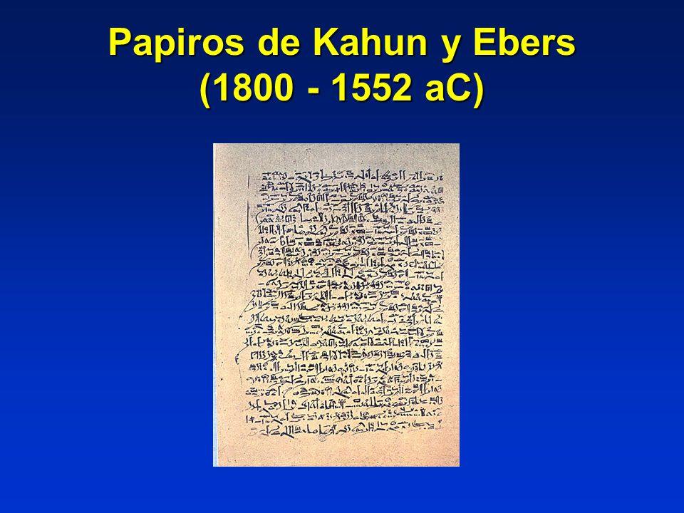Papiros de Kahun y Ebers (1800 - 1552 aC)