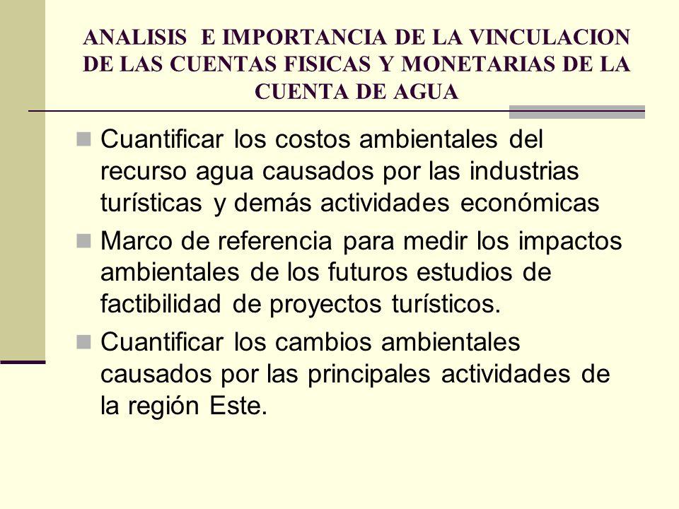 ANALISIS E IMPORTANCIA DE LA VINCULACION DE LAS CUENTAS FISICAS Y MONETARIAS DE LA CUENTA DE AGUA