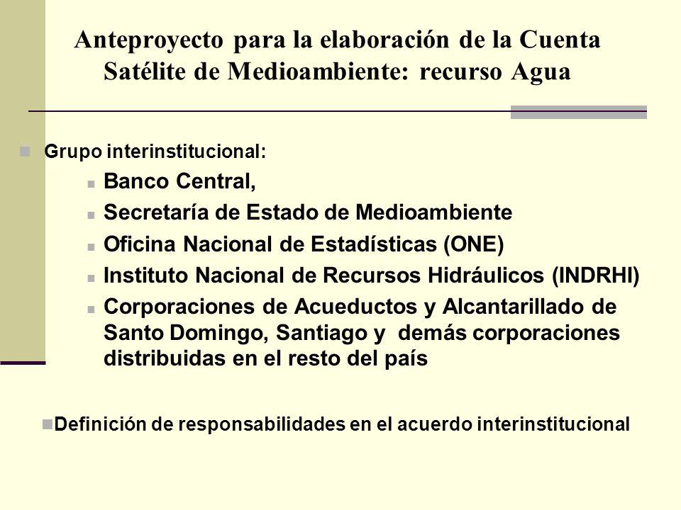 Anteproyecto para la elaboración de la Cuenta Satélite de Medioambiente: recurso Agua