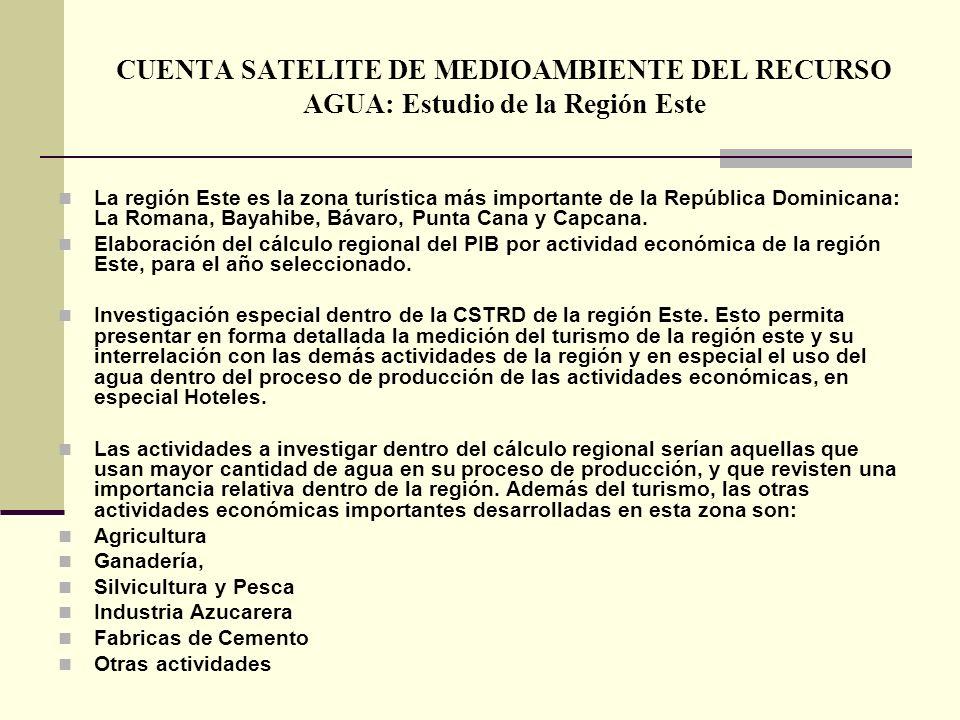 CUENTA SATELITE DE MEDIOAMBIENTE DEL RECURSO AGUA: Estudio de la Región Este