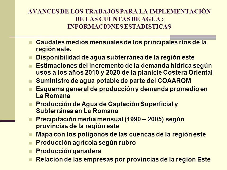 AVANCES DE LOS TRABAJOS PARA LA IMPLEMENTACIÓN DE LAS CUENTAS DE AGUA : INFORMACIONES ESTADISTICAS