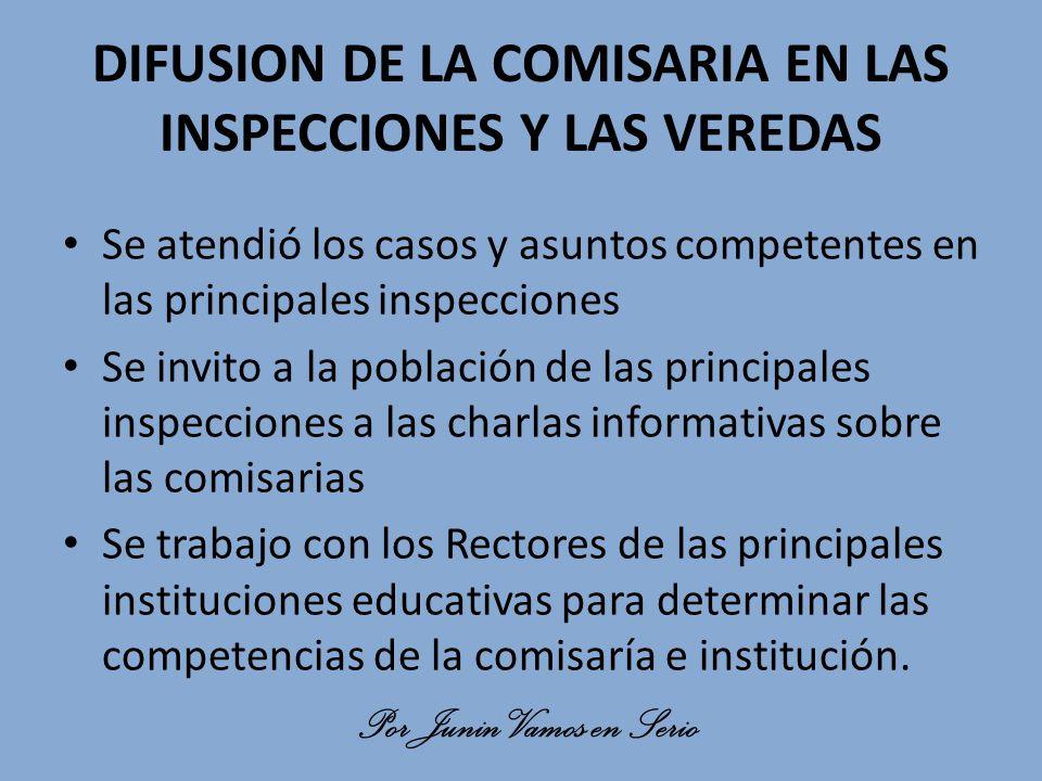 DIFUSION DE LA COMISARIA EN LAS INSPECCIONES Y LAS VEREDAS