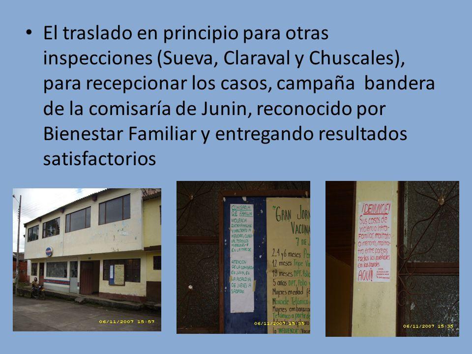 El traslado en principio para otras inspecciones (Sueva, Claraval y Chuscales), para recepcionar los casos, campaña bandera de la comisaría de Junin, reconocido por Bienestar Familiar y entregando resultados satisfactorios