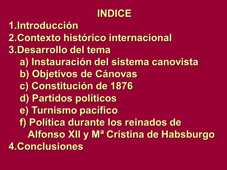 INDICE Introducción. Contexto histórico internacional. Desarrollo del tema. a) Instauración del sistema canovista.