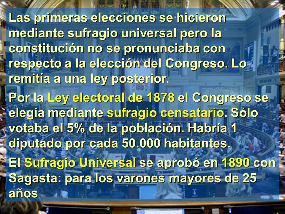 Las primeras elecciones se hicieron mediante sufragio universal pero la constitución no se pronunciaba con respecto a la elección del Congreso. Lo remitía a una ley posterior.