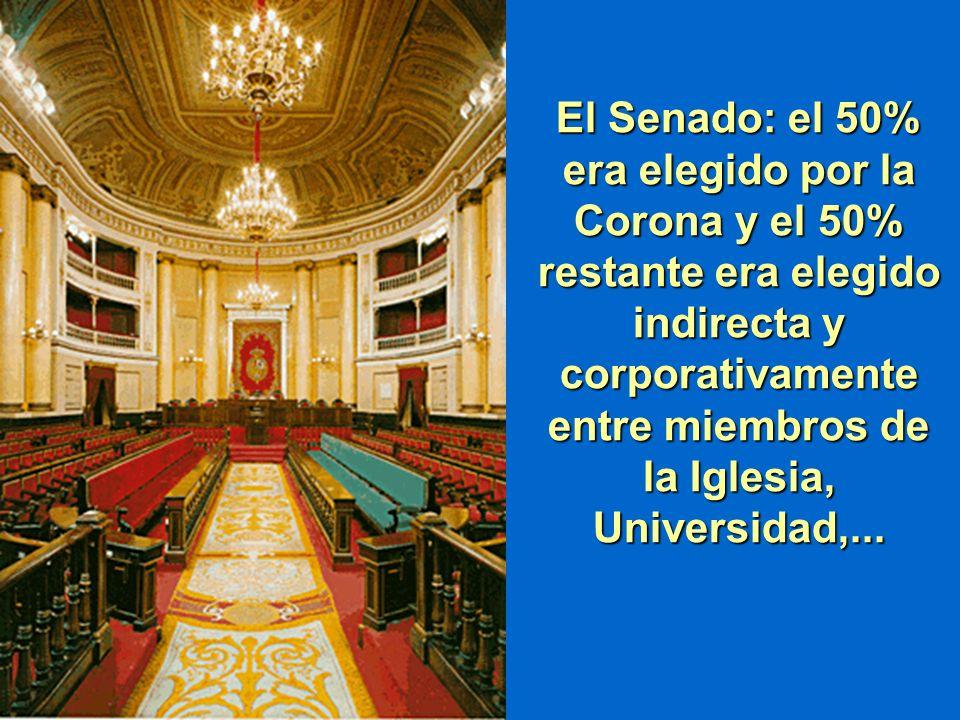 El Senado: el 50% era elegido por la Corona y el 50% restante era elegido indirecta y corporativamente entre miembros de la Iglesia, Universidad,...