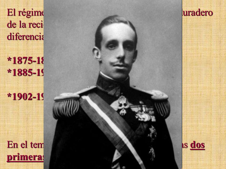 El régimen de la Restauración será el más duradero de la reciente historia de España. Podemos diferenciar tres etapas: