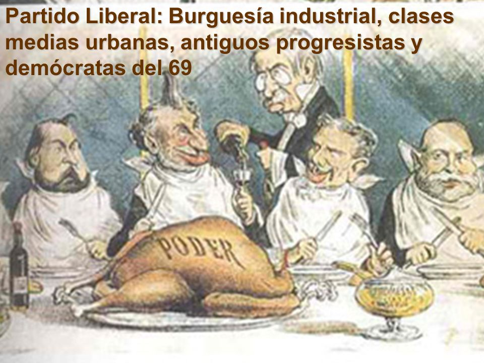 Partido Liberal: Burguesía industrial, clases medias urbanas, antiguos progresistas y demócratas del 69