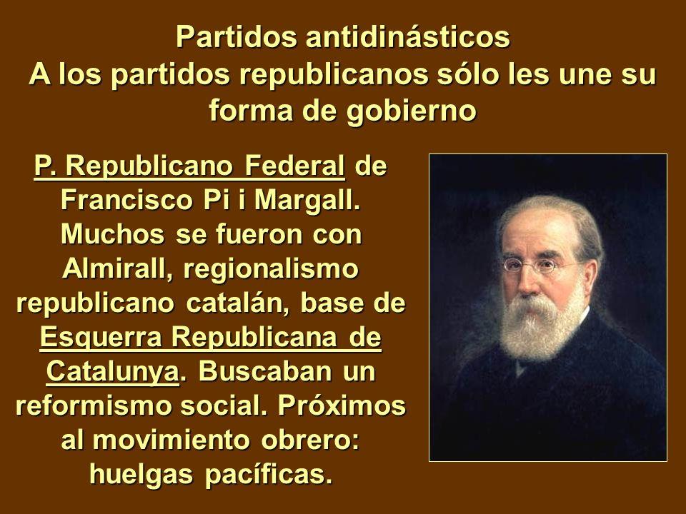 Partidos antidinásticos A los partidos republicanos sólo les une su forma de gobierno