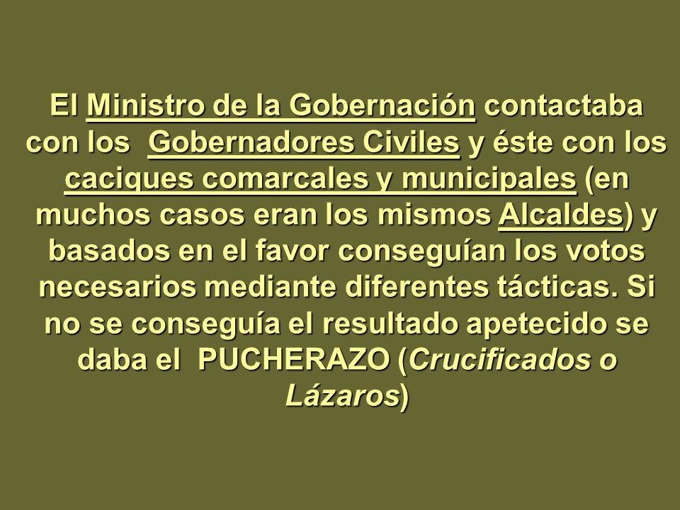 El Ministro de la Gobernación contactaba con los Gobernadores Civiles y éste con los caciques comarcales y municipales (en muchos casos eran los mismos Alcaldes) y basados en el favor conseguían los votos necesarios mediante diferentes tácticas.