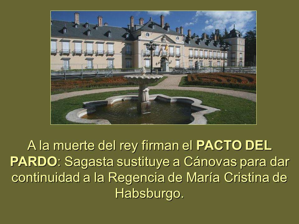 A la muerte del rey firman el PACTO DEL PARDO: Sagasta sustituye a Cánovas para dar continuidad a la Regencia de María Cristina de Habsburgo.