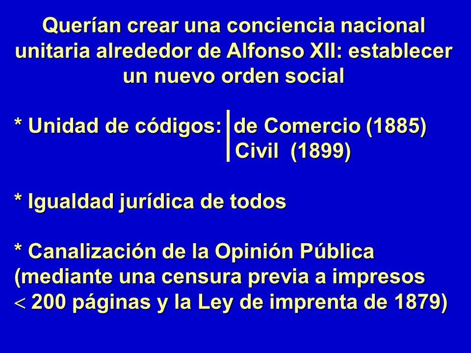 Querían crear una conciencia nacional unitaria alrededor de Alfonso XII: establecer un nuevo orden social