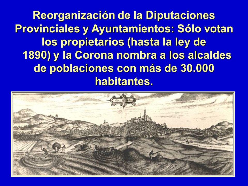 Reorganización de la Diputaciones Provinciales y Ayuntamientos: Sólo votan los propietarios (hasta la ley de