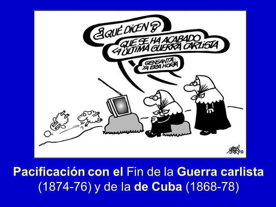 Pacificación con el Fin de la Guerra carlista (1874-76) y de la de Cuba (1868-78)