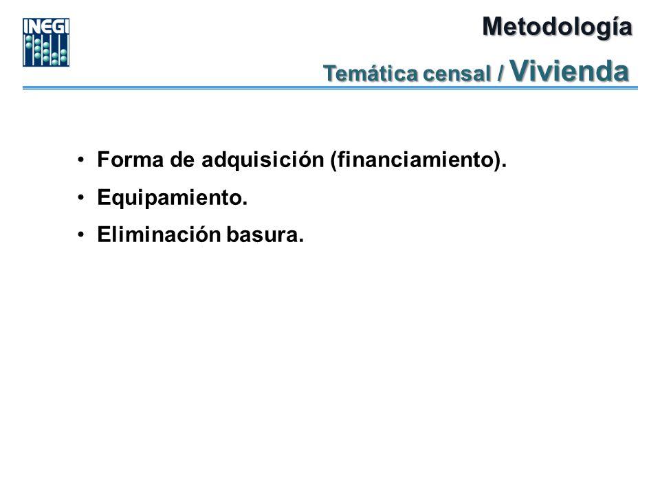 Metodología Temática censal / Vivienda