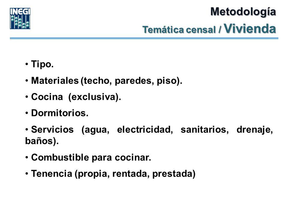 Metodología Temática censal / Vivienda Tipo.