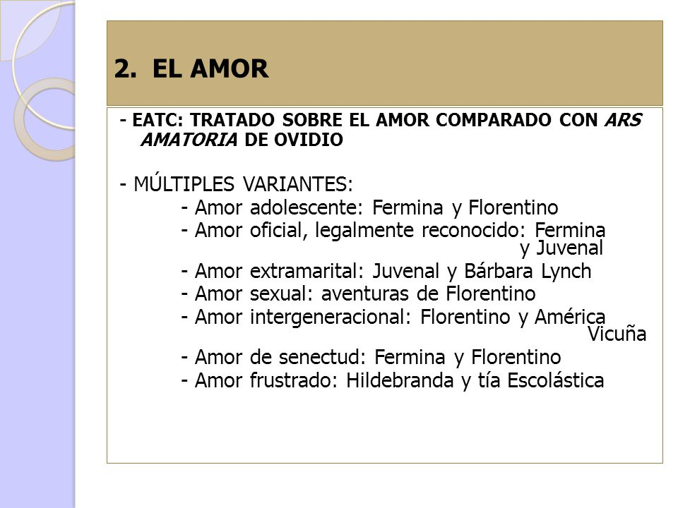 2. EL AMOR - MÚLTIPLES VARIANTES: