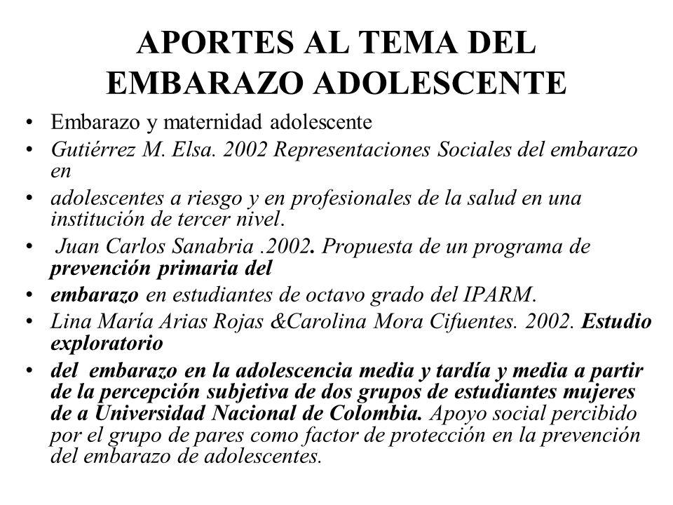 APORTES AL TEMA DEL EMBARAZO ADOLESCENTE