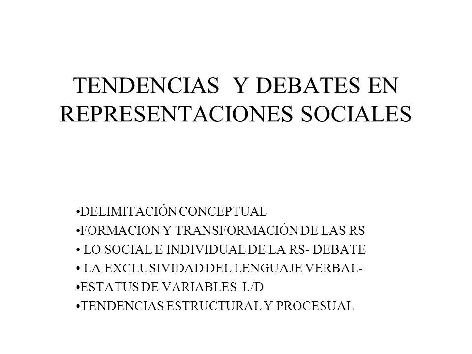 TENDENCIAS Y DEBATES EN REPRESENTACIONES SOCIALES