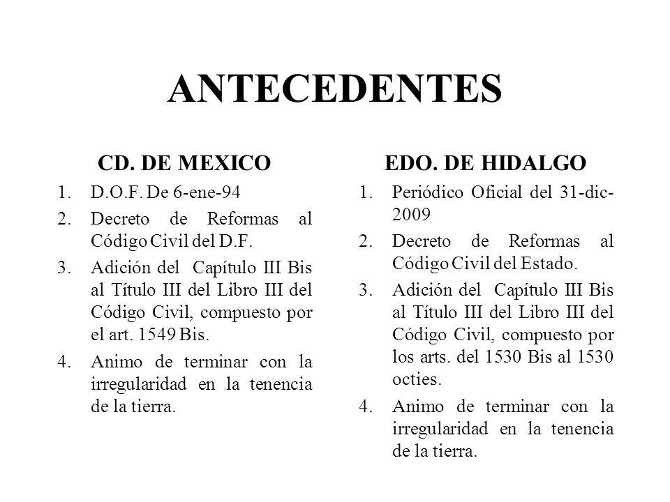 ANTECEDENTES CD. DE MEXICO EDO. DE HIDALGO D.O.F. De 6-ene-94