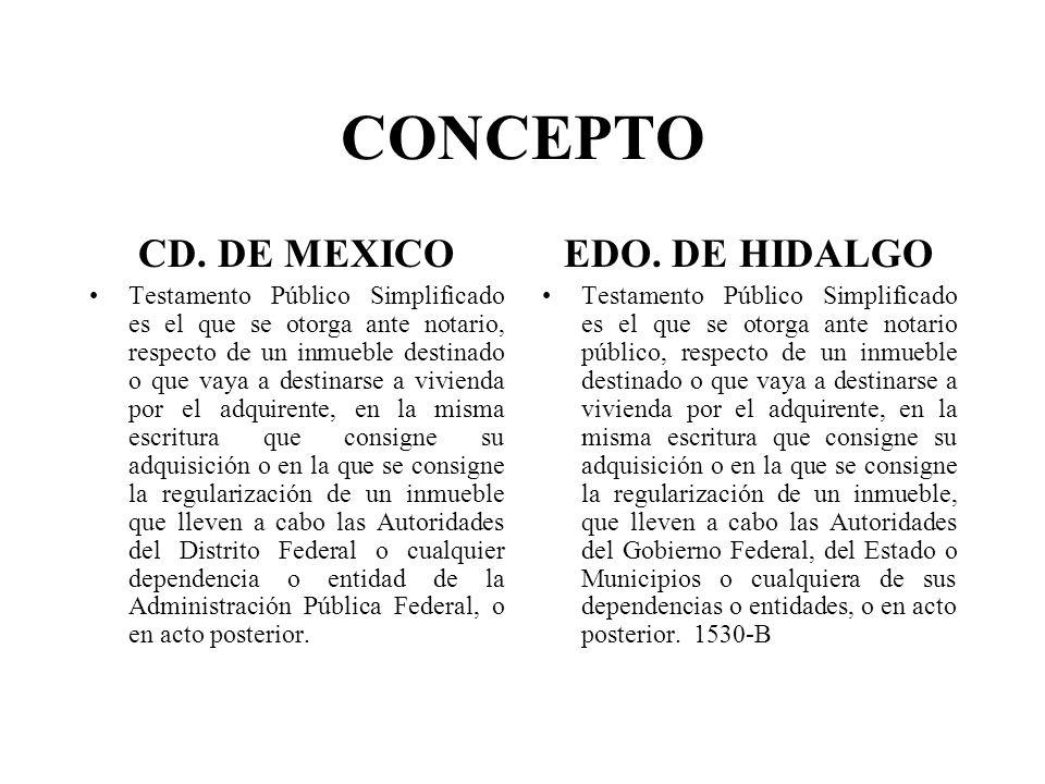 CONCEPTO CD. DE MEXICO EDO. DE HIDALGO