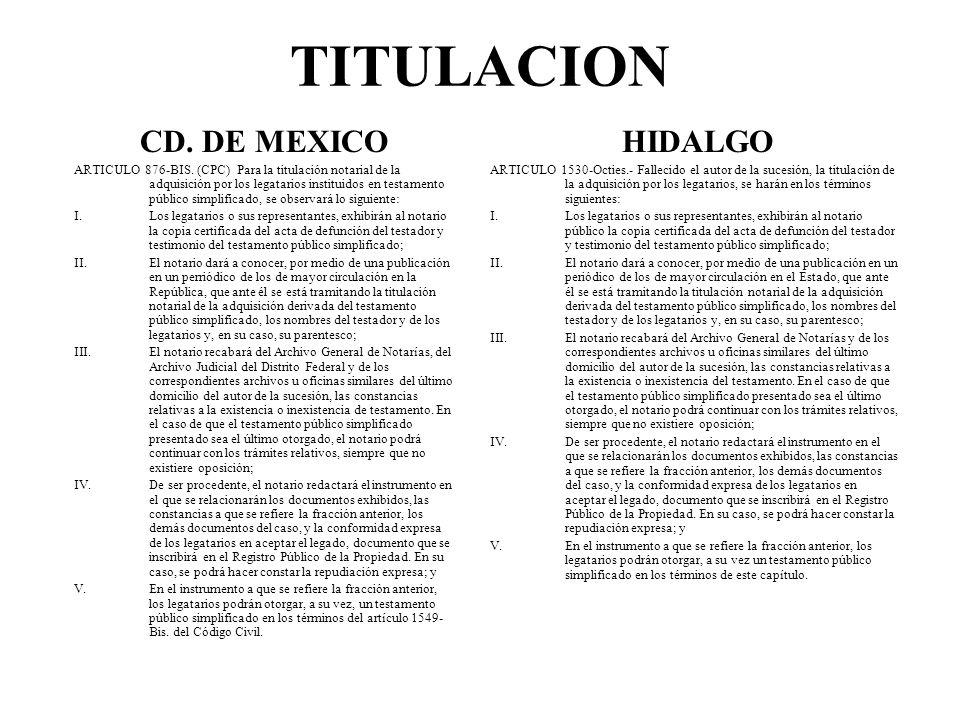 TITULACION CD. DE MEXICO HIDALGO