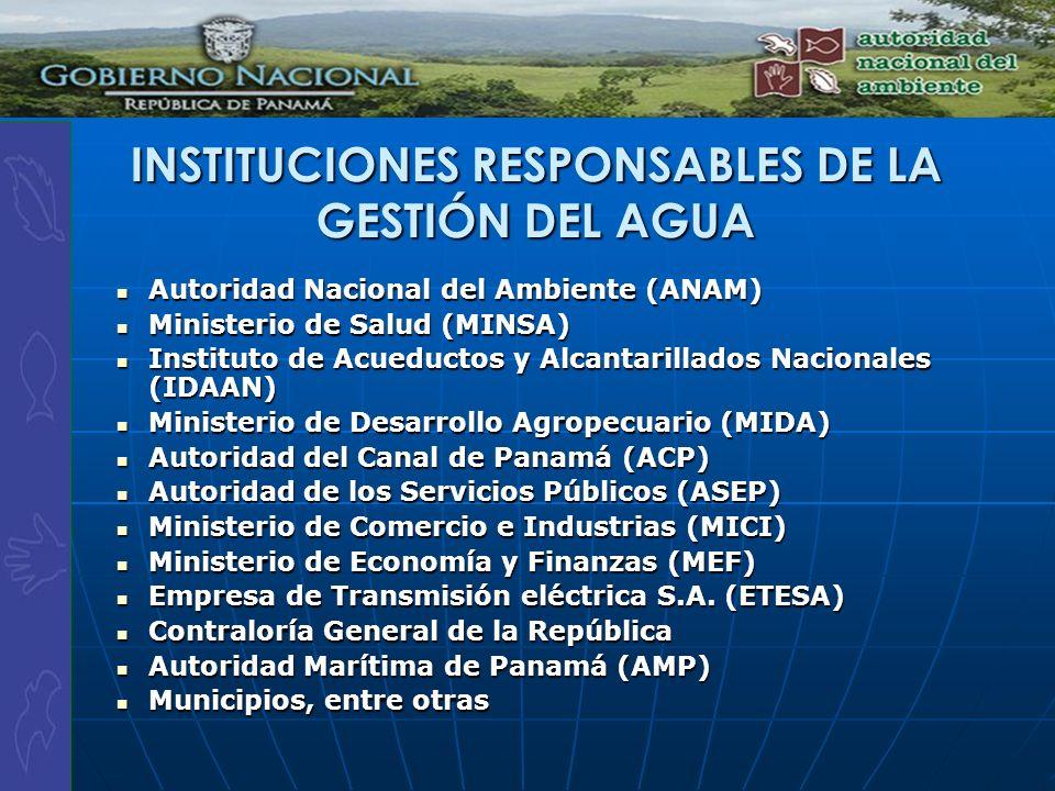 INSTITUCIONES RESPONSABLES DE LA GESTIÓN DEL AGUA