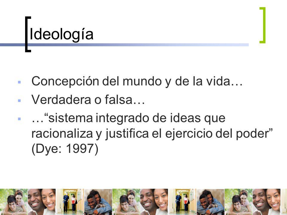 Ideología Concepción del mundo y de la vida… Verdadera o falsa…
