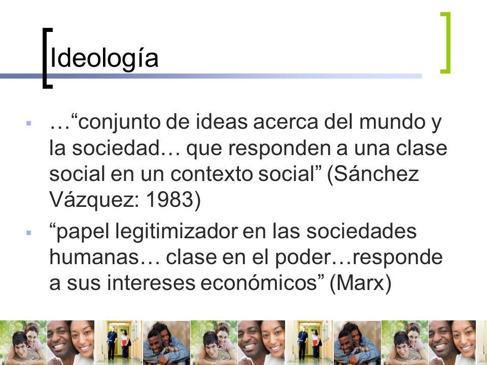 Ideología … conjunto de ideas acerca del mundo y la sociedad… que responden a una clase social en un contexto social (Sánchez Vázquez: 1983)