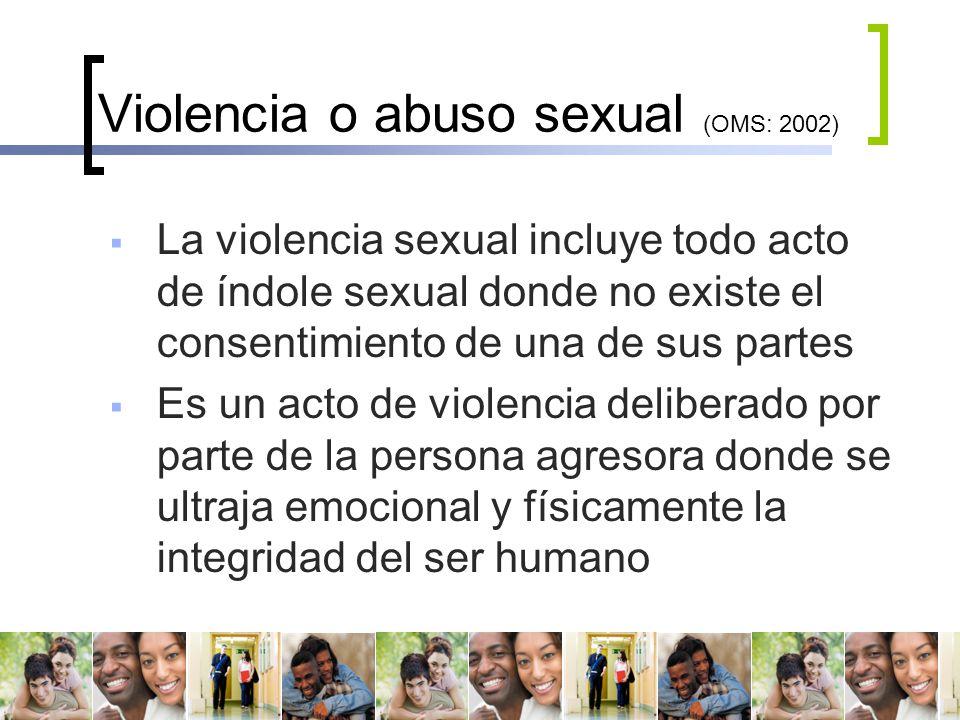 Violencia o abuso sexual (OMS: 2002)
